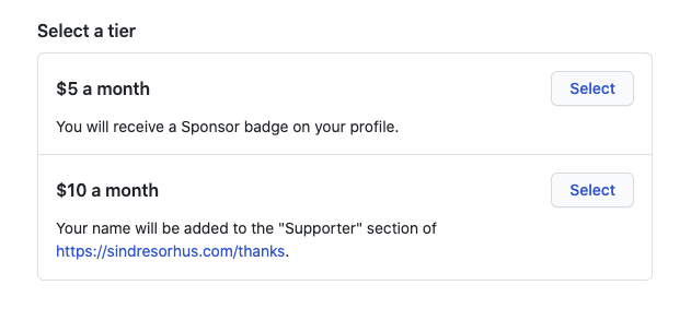 monthly sponsorships on GitHub Sponsors